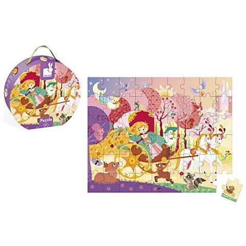 Princess and the Coach Round Case Puzzle (54 pieces)