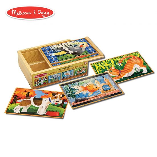 Pets 4-in-1 Wooden Jigsaw Puzzles In A Storage Box (12 Pieces)
