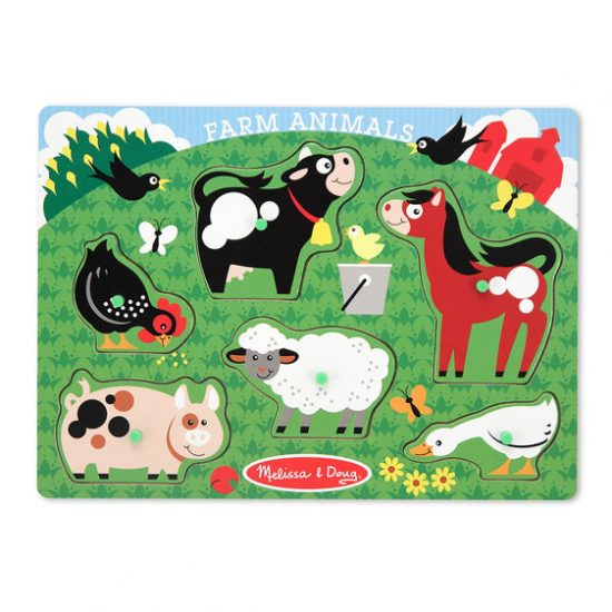 Farm Animals Wooden Peg Puzzle (6 Pieces)