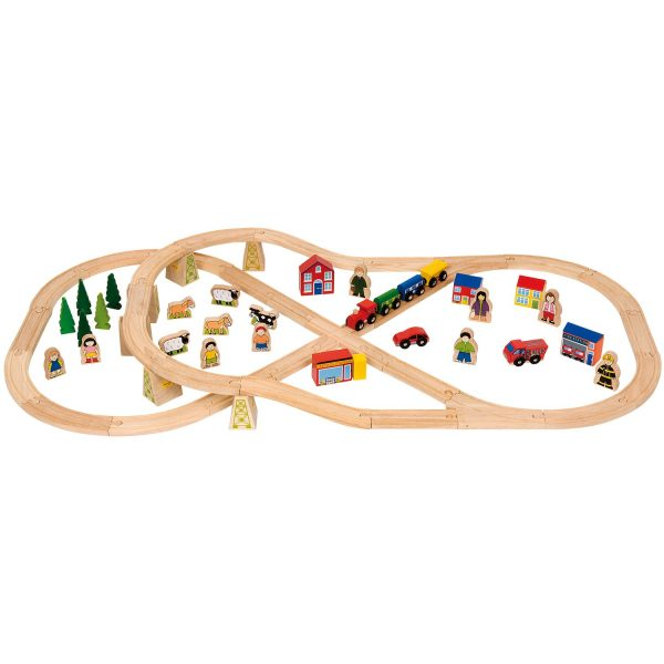Wooden Rail - Countryside  Wooden Train Set (72-Piece)