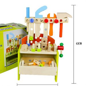 Wooden Toy Workbench with Toolbox